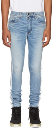 Amiri Blue and White Stack Track Jeans