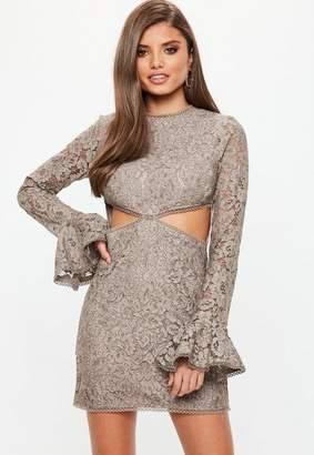 Missguided Mink Lace Cut Out Waist Detail Mini Dress, Brown