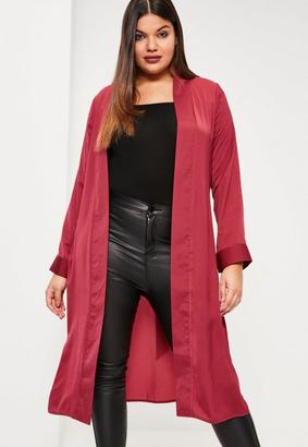 Plus Size Red Satin Tie Waist Duster Coat $88 thestylecure.com