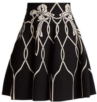 Alexander McQueen Art Nouveau Floral Intarsia Knitted Mini Skirt - Womens - Black White