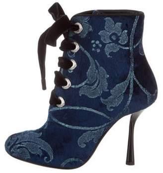 Lanvin Velvet Lace-Up Ankle Boots w/ Tags Blue Velvet Lace-Up Ankle Boots w/ Tags