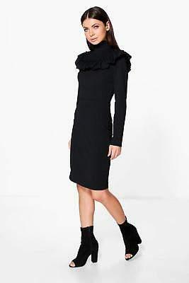 boohoo NEW Womens Keely High Neck Ruffle Midi Dress in Black size S