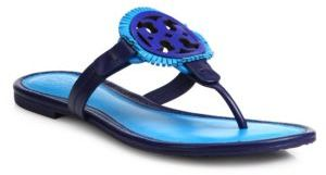 Tory Burch Miller Fringe Leather Logo Thong Sandals $225 thestylecure.com