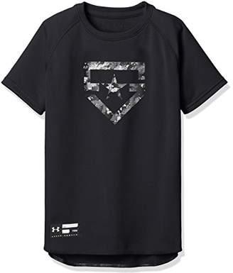 Under Armour (アンダー アーマー) - (アンダーアーマー)UNDER ARMOUR ベースボールTシャツ[SOLID](ベースボール/Tシャツ/BOYS)[1313615] BLK/BLK YXL
