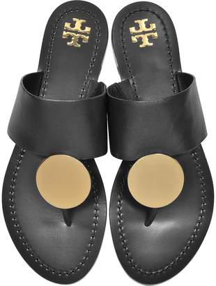 Tory Burch Black Leather Patos Disc Sandals