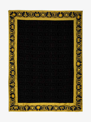 Versace Black cotton bath towel