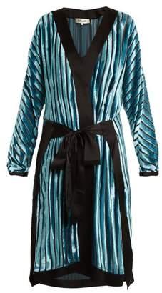 Diane von Furstenberg Striped Tie Waist Velvet Devore Dress - Womens - Blue Stripe