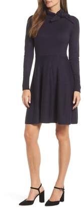 Eliza J Tie Neck Fit & Flare Dress