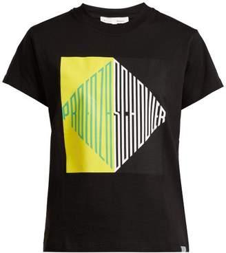 Pswl - Graphic Print Cotton Jersey T Shirt - Womens - Black Multi