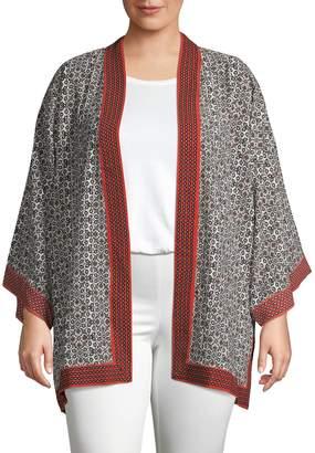 Max Studio Plus Mixed-Print Open-Front Kimono