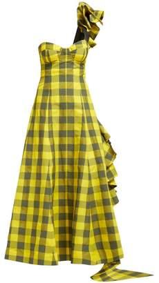 Natasha Zinko One Shoulder Ruffled Gingham Dress - Womens - Black Yellow