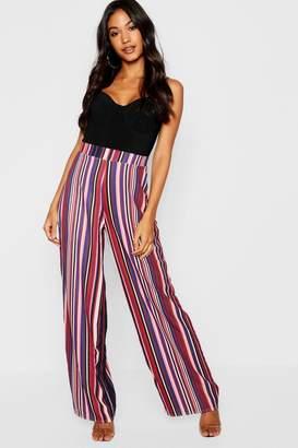boohoo Woven Stripe Wide Leg Trouser