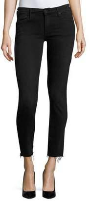 Mother Denim Looker Ankle Skinny Jeans with Frayed Hem, Blackbird $205 thestylecure.com