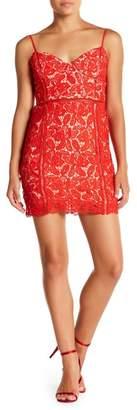 Just Me Flower Lace Spaghetti Strap Mini Dress