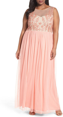 Adrianna Papell Beaded Illusion Bodice Gown (Plus Size) $299 thestylecure.com