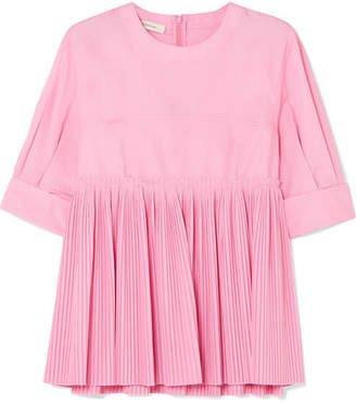 Cédric Charlier Pleated Cotton-blend Peplum Blouse - Pink