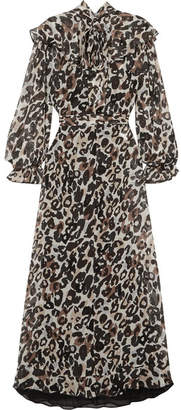 Sonia Rykiel Leopard-print Silk-chiffon Midi Dress - Brown