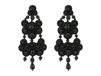Tory Burch Leather-Backed Beaded Chandelier Earrings