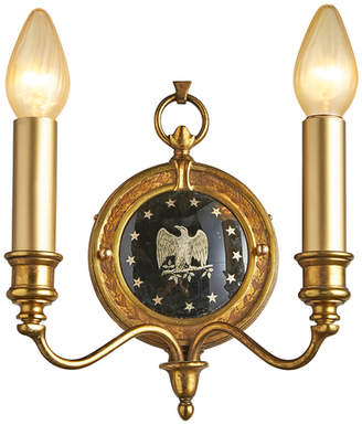 Rejuvenation Federalist 2-Arm Sconce w/ Glass Eagle Medallion
