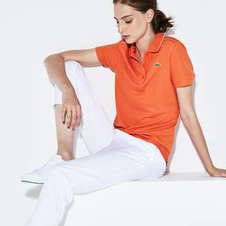 Lacoste Women's SPORT Contrast Accents Square Knit Golf Polo