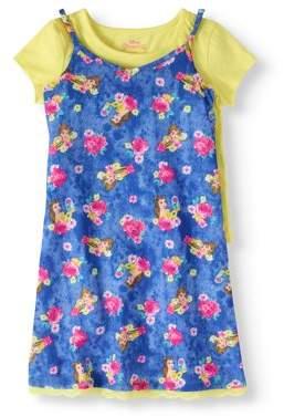 Beauty and the Beast Girls' Belle Lace Hem Slip Dress with T-Shirt 2-Piece Set