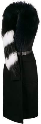 Off-White fur collar sleeveless coat