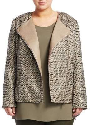 Lafayette 148 New York Lafayette 148 New York, Plus Size Trista Silk& Leather Jacket