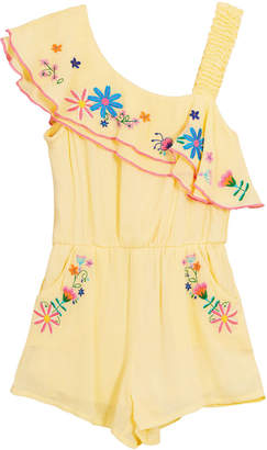 Hannah Banana Floral Embroidered Woven One-Shoulder Romper Size 7-14