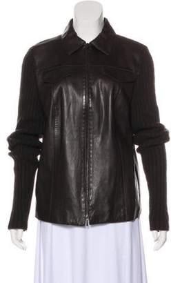 Akris Pointed-Collar Leather Jacket Black Pointed-Collar Leather Jacket
