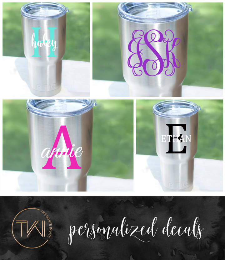 Etsy RTIC Decal - YETI Decal - Personalized Monogram Decal for 20oz or 30oz Yeti Rambler Cup, RTIC Tumble