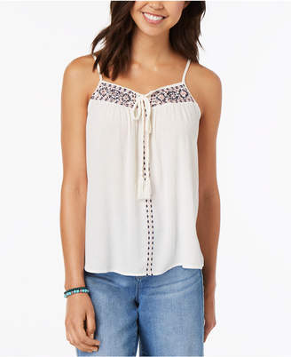 Almost Famous Juniors' Embroidered Tie-Front Tank Top