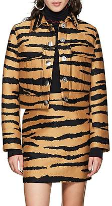 Proenza Schouler Women's Tiger-Pattern Wool-Silk Jacquard Crop Jacket