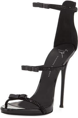 Giuseppe Zanotti Crystal Strappy Bow Heeled Sandal