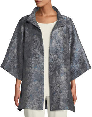 Eileen Fisher Cosmos Jacquard 3/4-Sleeve Jacket, Plus Size