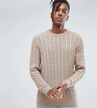 Farah Ludwig Twisted Yarn Cable Knit Sweater in Oatmeal