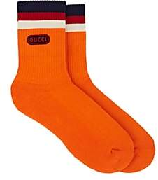 Gucci Men's Logo-Appliquéd Cotton-Blend Ankle Socks - Orange