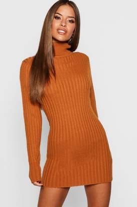 boohoo Petite Ribbed Roll Neck Jumper Dress