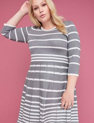 Lane Bryant 3/4 Sleeve Striped Fit & Flare Sweater Dress