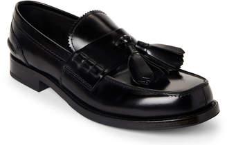 Prada Black Tasseled Moc Toe Loafers