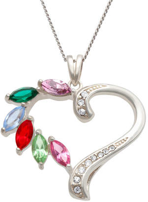 FINE JEWELRY Personalized Family Marquise Birthstone Heart Pendant Necklace