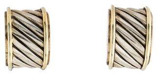 David Yurman Two-Tone Cigar Band Earclip Earrings