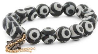 Madedhandcrafted In California Dzi Beaded Charm Tassel Bracelet