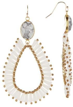 Panacea 14K Gold White Agate Teardrop Earrings