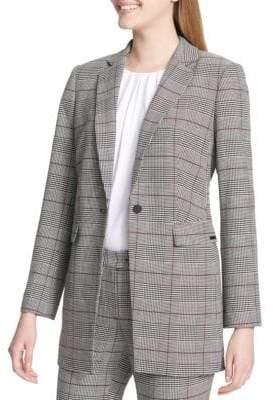 Calvin Klein Plaid Button Suit Jacket