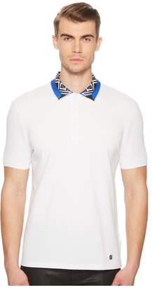 Versace Printed Collar Pique Polo