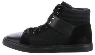 Chanel Lace-Up CC High-Top Sneakers