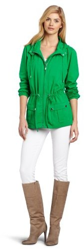 Chaus Women's Jersey Solid Hooded Zip Front Utility Jacket