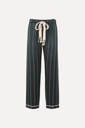 Loewe Striped Silk-charmeuse Wide-leg Pants - Navy