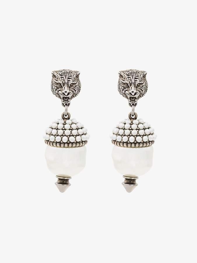 Feline Faux Pearl Earrings