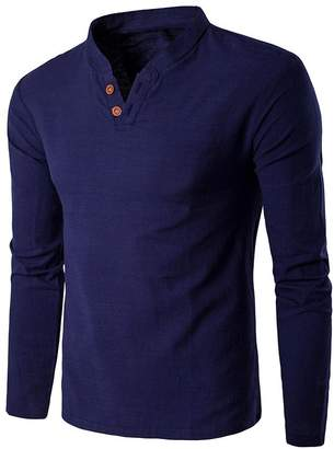 Diamondo Men Fashion Cotton Linen Stand Collar Long Sleeve Shirt Tops(Navy Blue L)